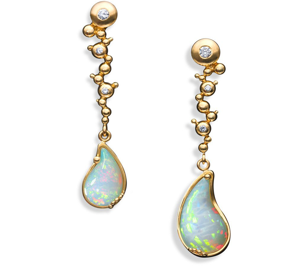 Ornella Iannuzzi Holy Water Wello Opal Diamond and Gold Earrings