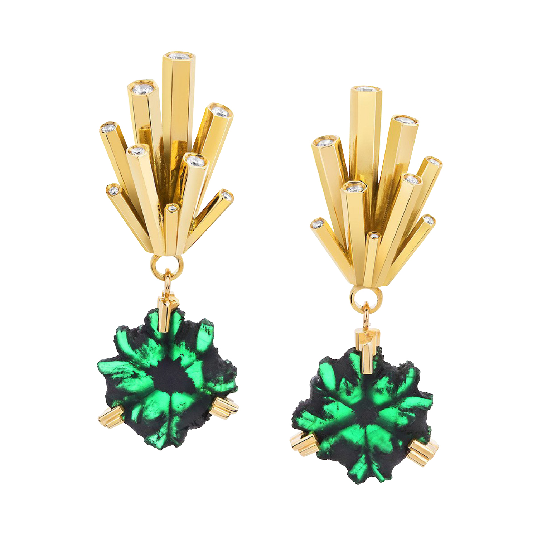Ornella Iannuzzi Emerald Slices Earrings