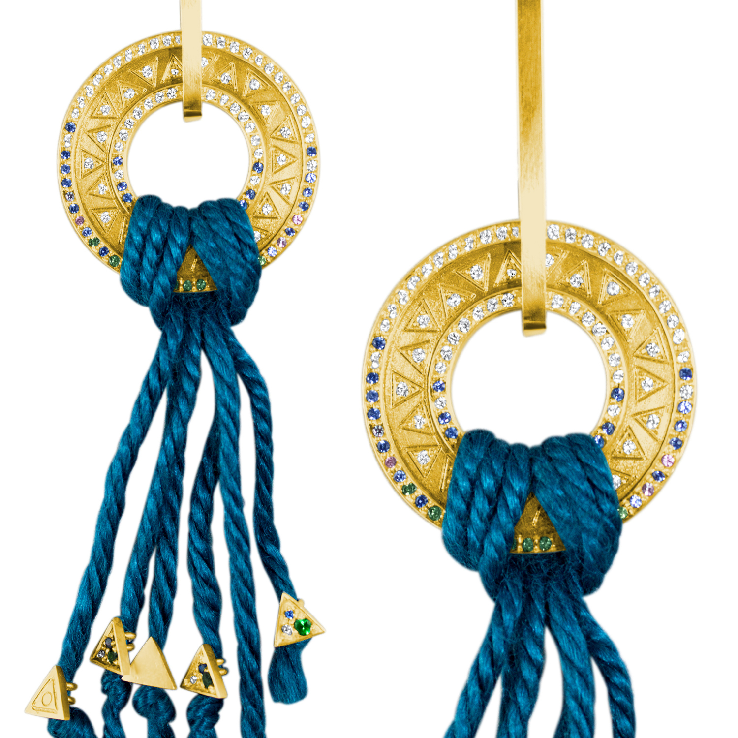 Sapphire and gold Tove Earrings - Hargreaves Stockholm