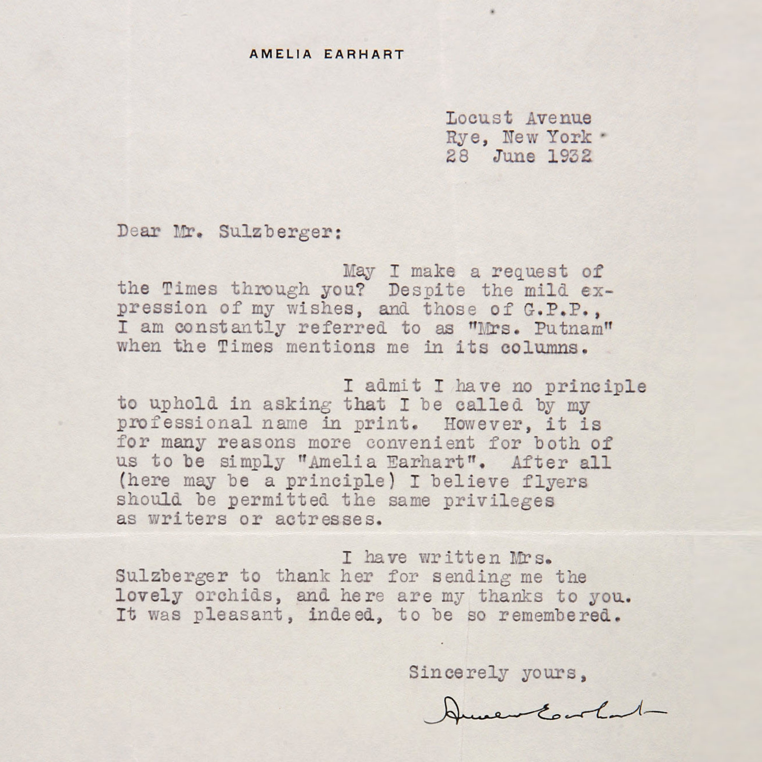 Amelia Earhart's letter to the New York Times