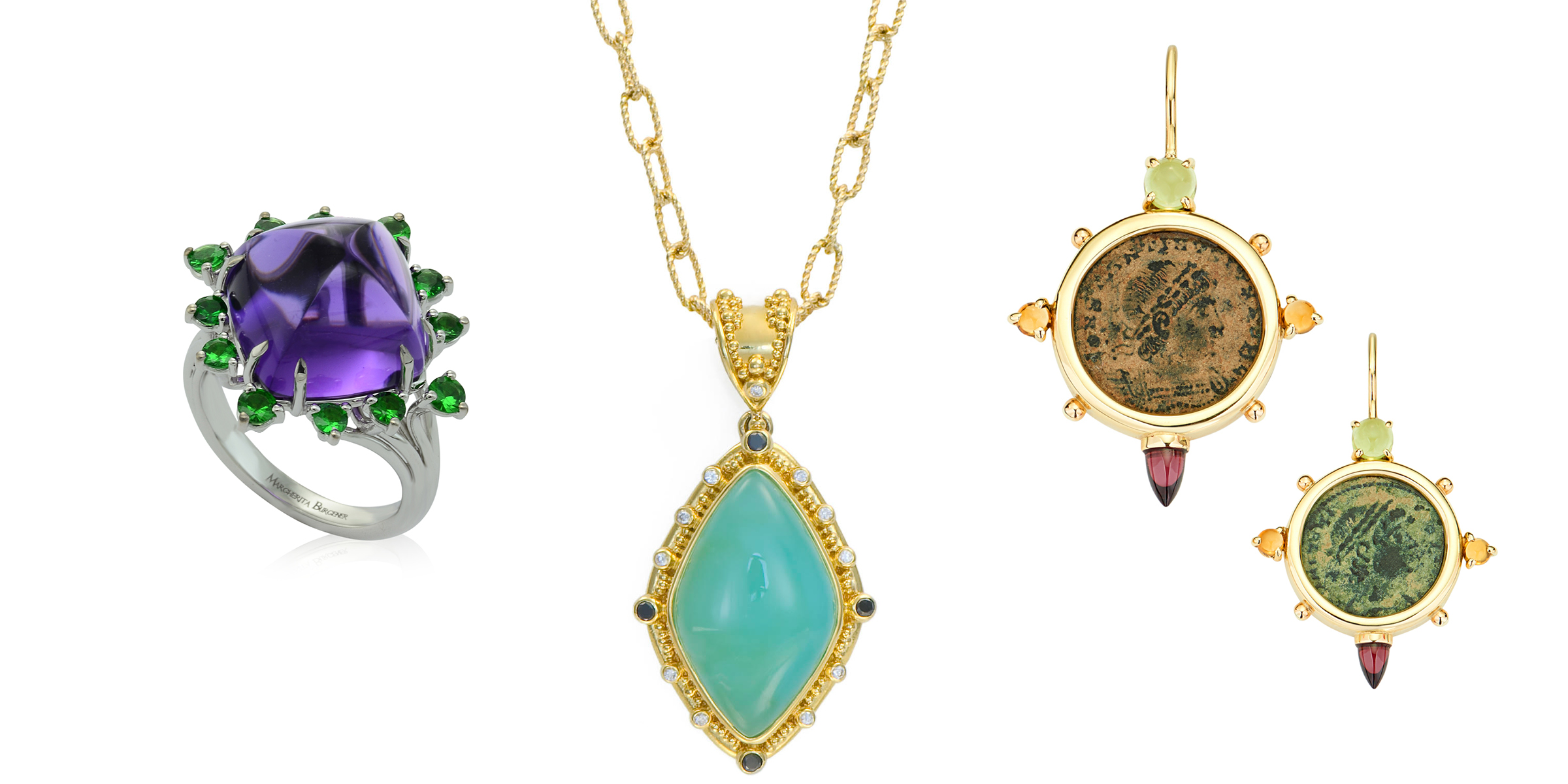 Meet the Cabochon - A curation of jewelry set with gemstones that are shaped or polished, rather than faceted