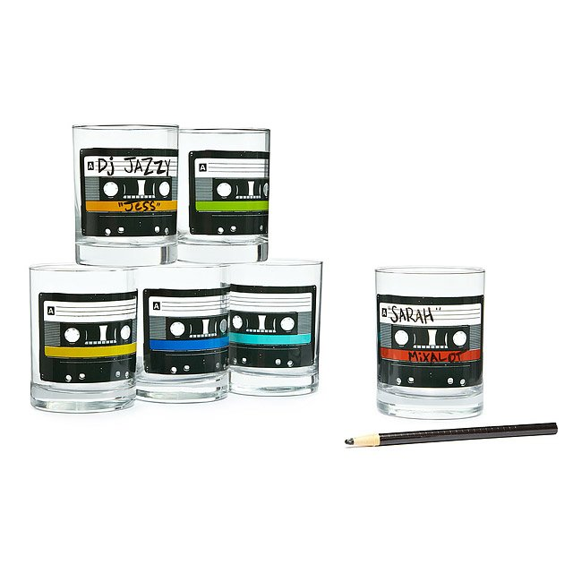 Mixtape Glasses - This set of six glasses features super cute, colorful mixtape illustrations. The best part? The set comes with a wax pencil so your guests can write their name on the tape and keep track of their glass.