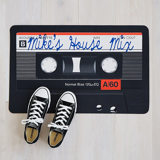 Mixtape Doormat - Welcome your friends and family with this cool piece. The design is awesome, but it's even better because you get to customize the title text!