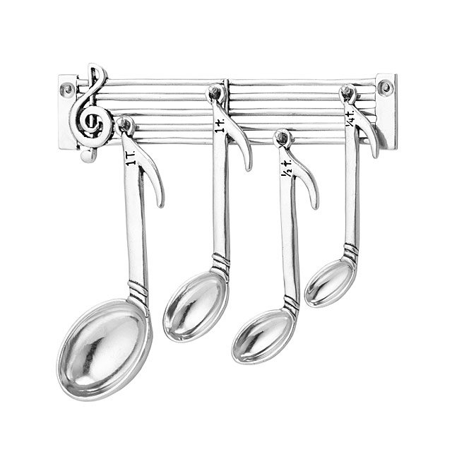 Music Note Measuring Spoons - For the music-loving chef or baker in your life, these measuring spoons are adorable in their music note shapes!