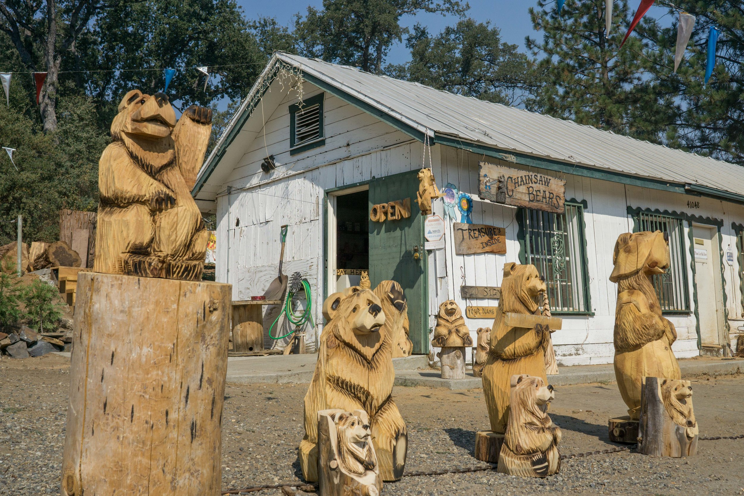 - Carved Bear DemosStop by Wednesday - Sunday from 9am-5pm and watch as experienced wood carvers create a bear from scratch! It only takes 7 minutes. Just ask Brian or Nate and they will happily give you a demonstration.Located at 41048 Hwy 41 Oakhurst, CA 93644