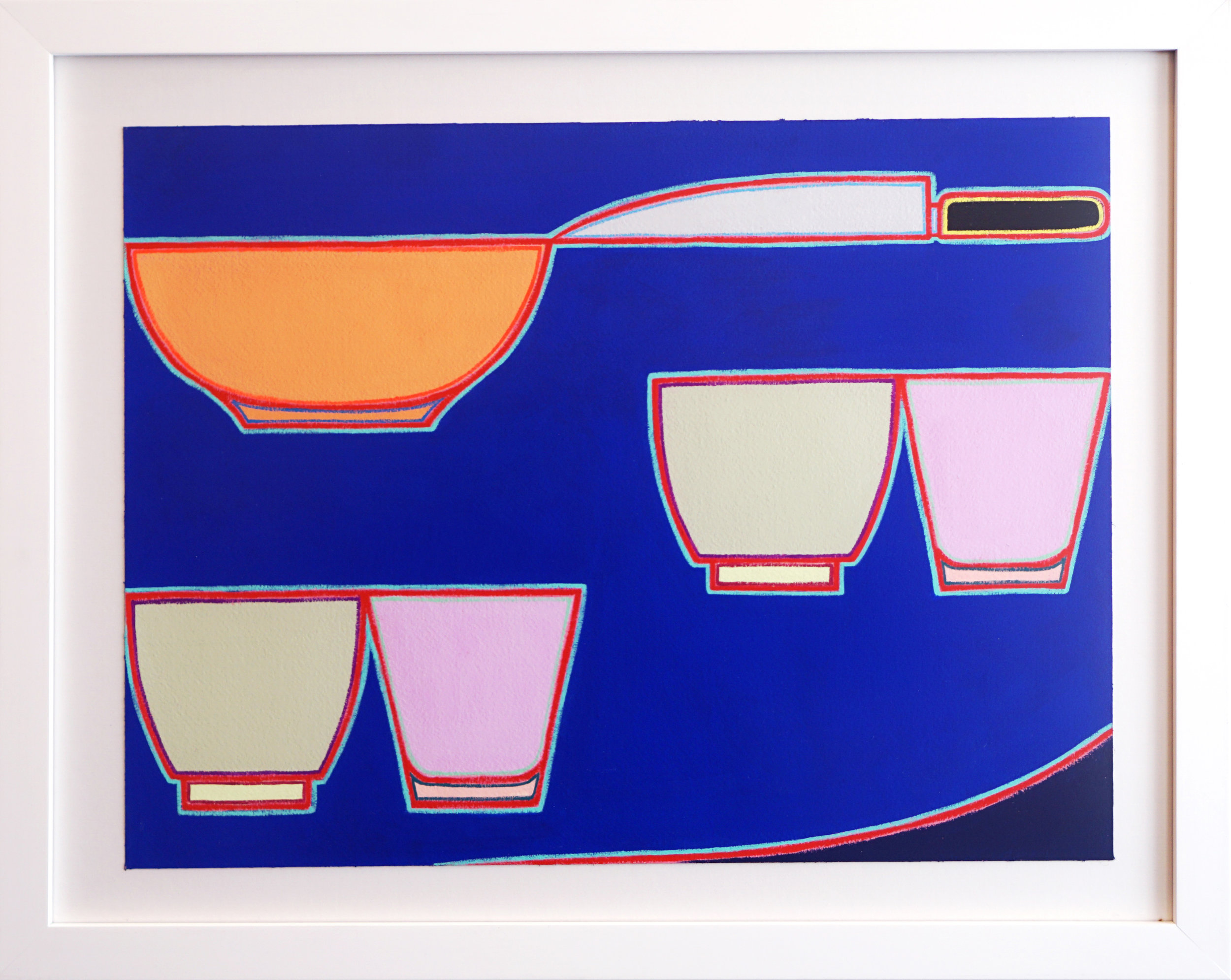 """Holly Coulis, """"Bowl, Knife"""", 2017, Gouache on arches paper, 12 x 16 in"""