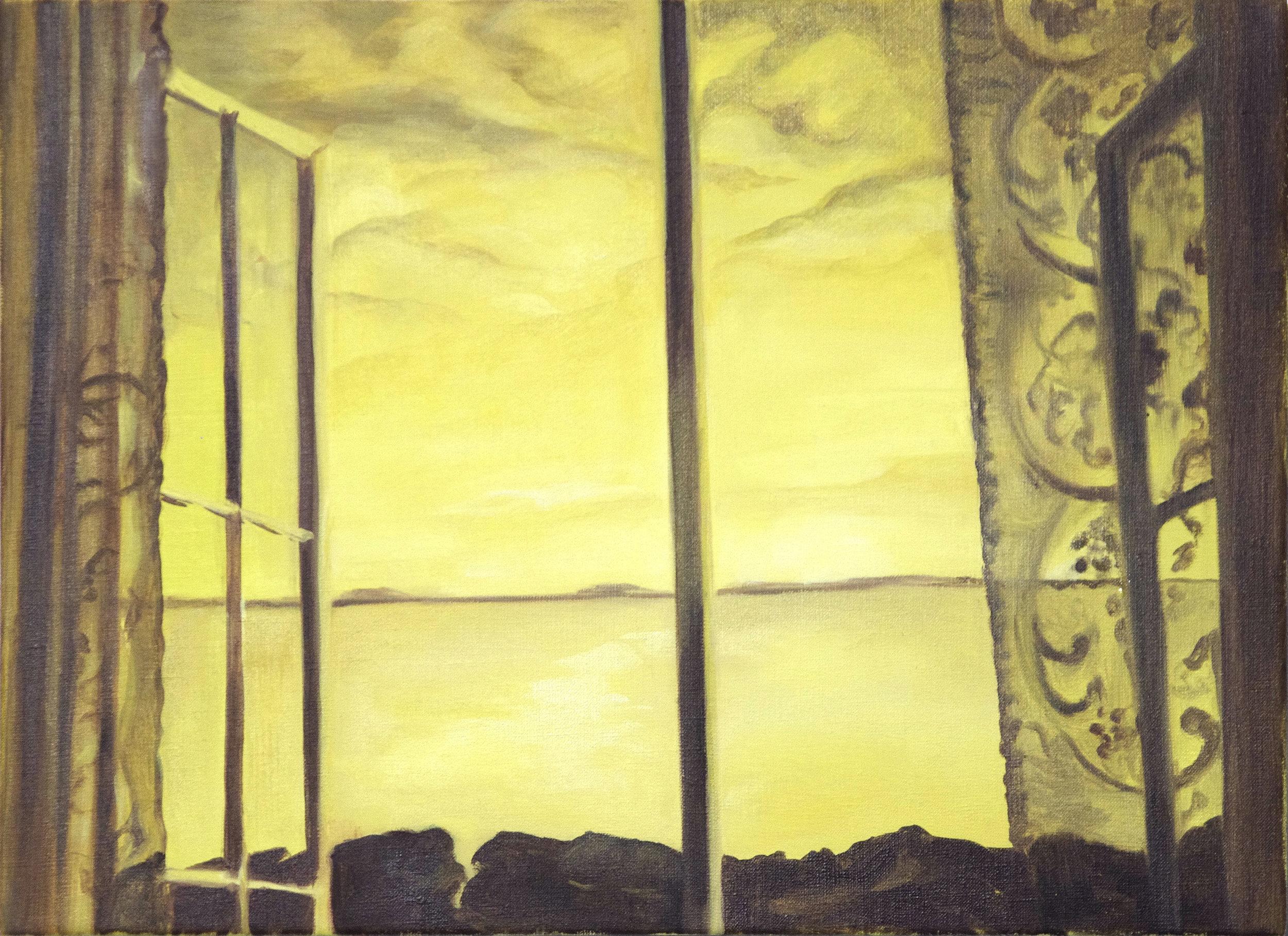 "Sarah Kurz, ""Yellow Sea"", 2016, Oil on linen, 28 x 40 in"
