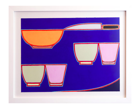 Holly Coulis,  Bowl, Knife , 2017, Gouache on arches paper, 12 x 16 in