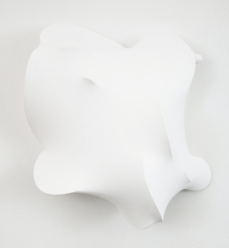 Eric Hibit,  White #2,  2015, Acrylic, fabric, wire, resin, wood, 20 x 21 x 9 in