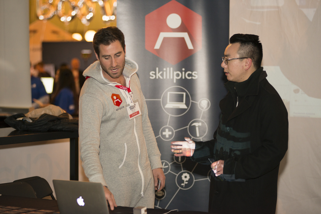Ryan Corry, President of Skillpics (pictured left) demoing his platform at Launch Party 2017