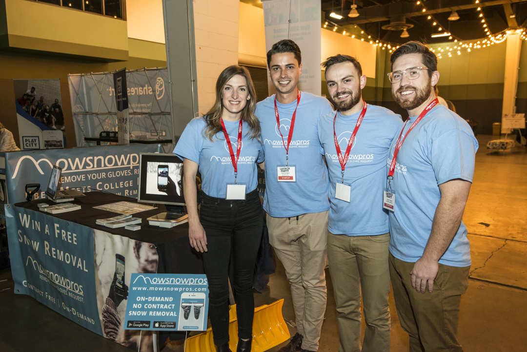 Aidan Klingbeil, CEO and Founder of MowSnowPros (pictured second from the left)at Launch Party 2017
