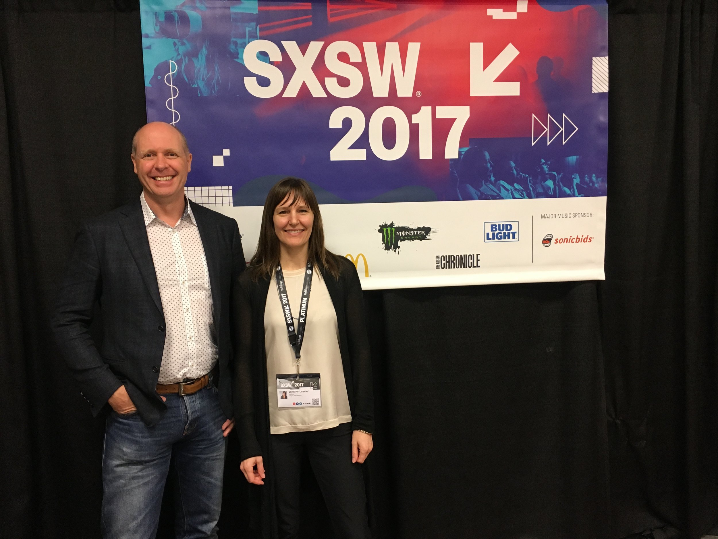 Jen Lussier (right) with Clark Johannson, President & CEO of Calgary's Clickspace Interactive (left) at SXSW 2017.