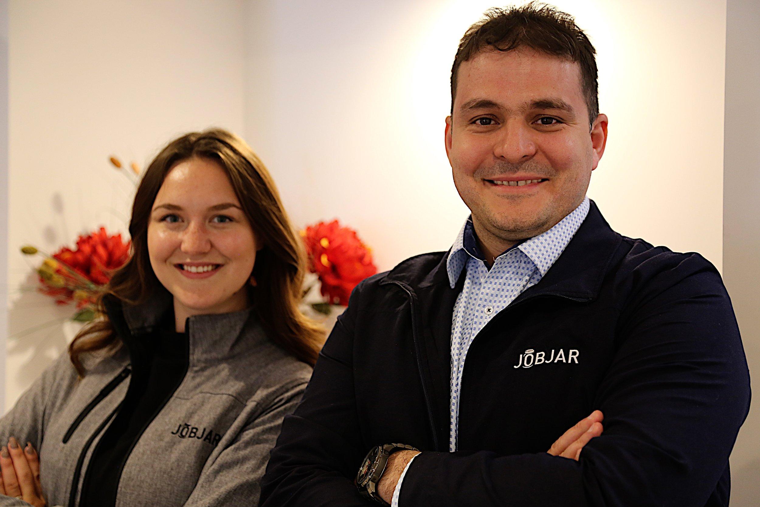 Kenzie Dutka, Marketing Guru at JobJar and  J. Luciano Cabrera, Growth Strategist  at JobJar