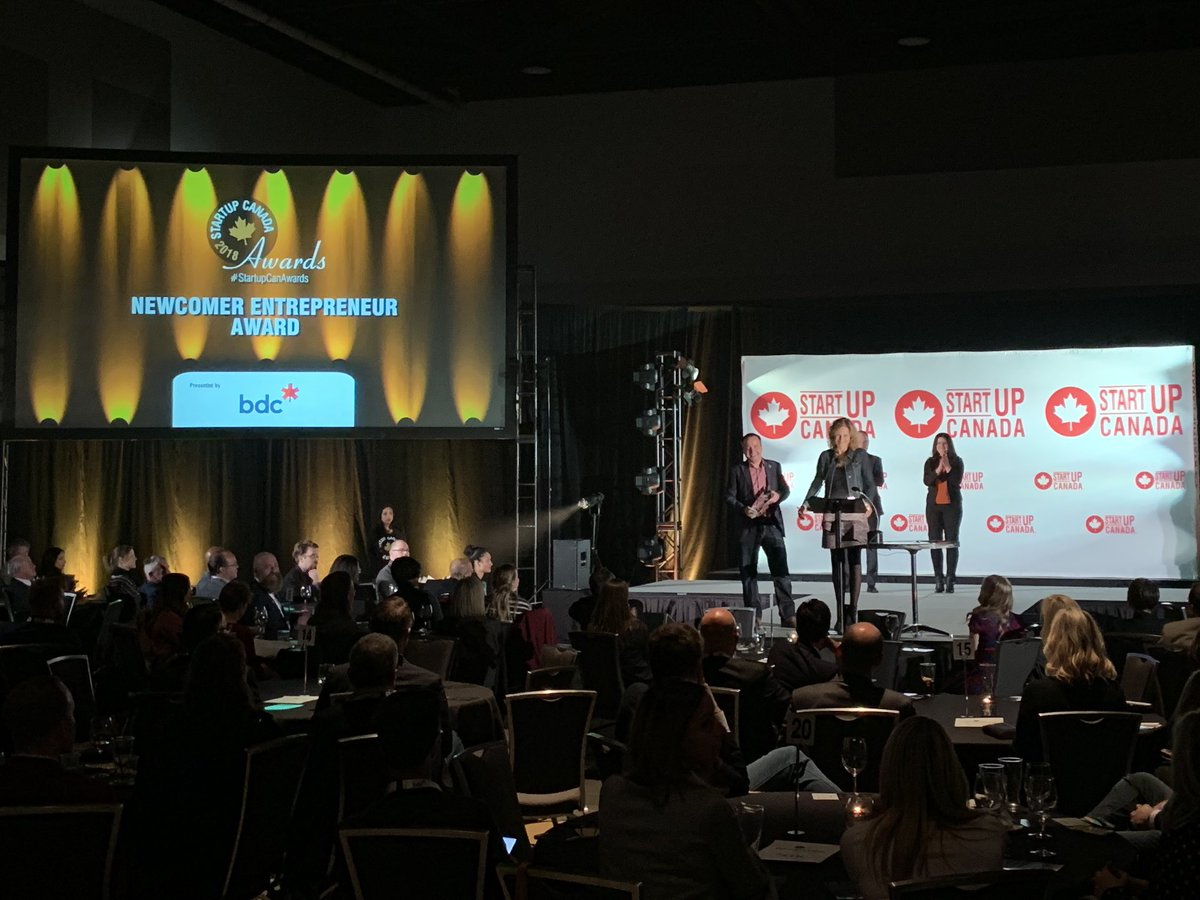 Yvonne van den Berg and John van Pol (Ingu Solutions) receiving the Startup Canada Newcomer Entrepreneur Award, sponsored by the Business Development Bank of Canada.