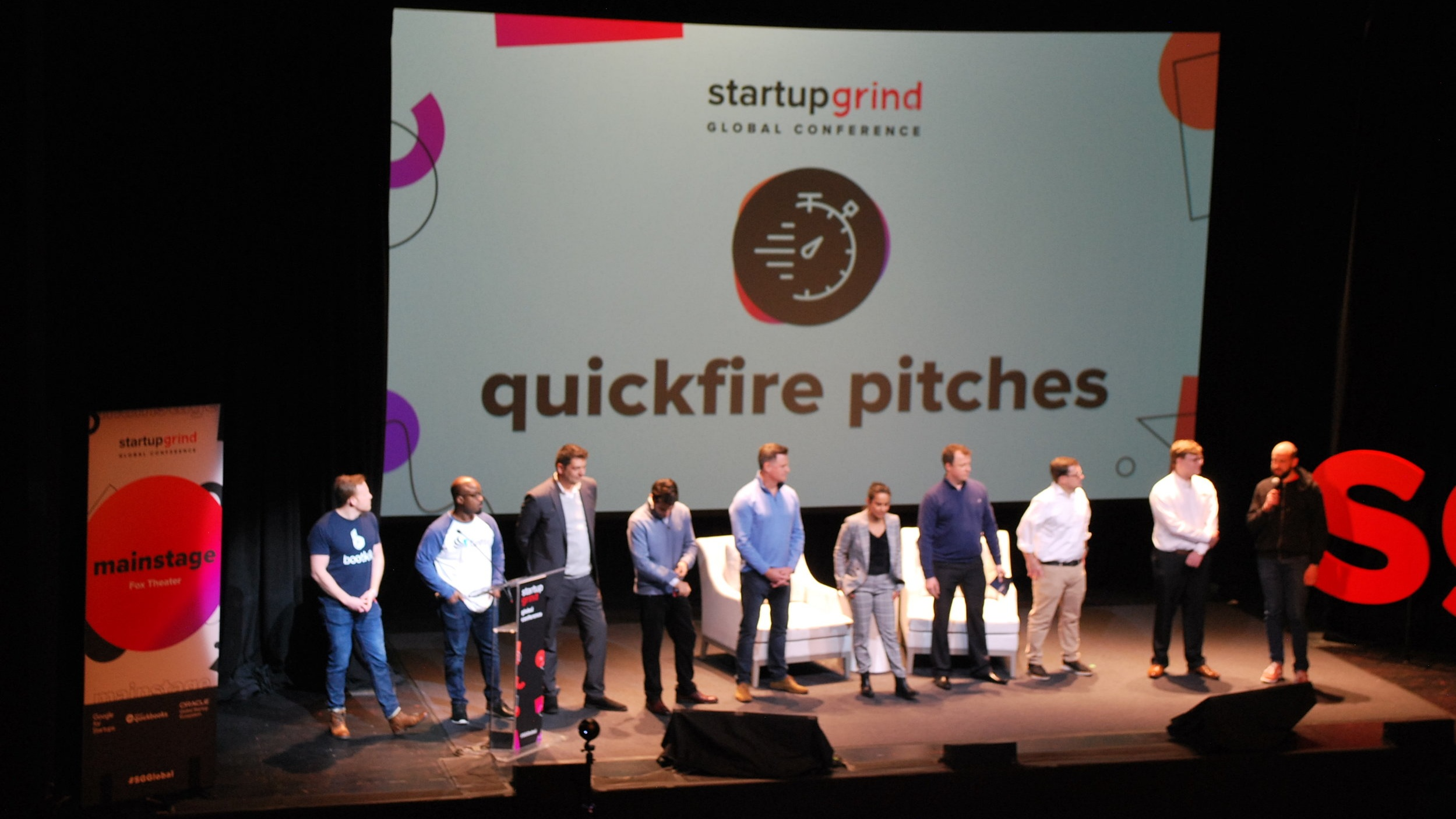 Leighton Healey, CEO at Bootkik preparing to pitch on the Startup Grind Global stage
