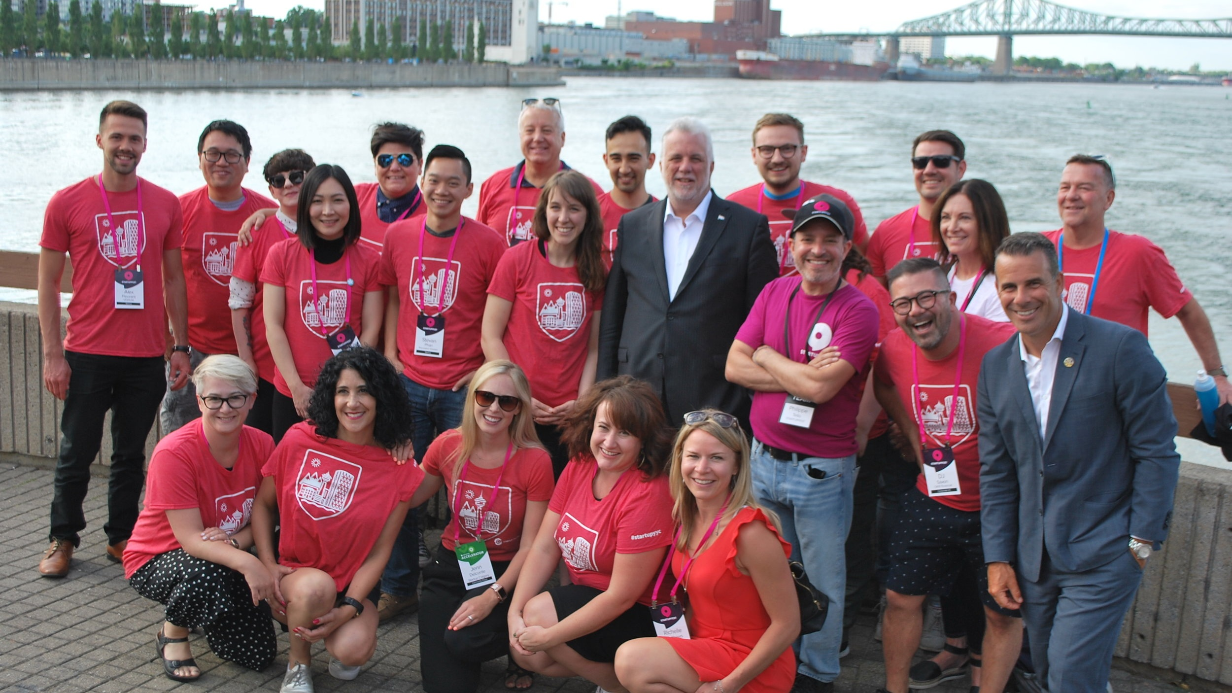 Members of the 2018 Calgary Delegation pictured with 31st Premiere of Quebec, Philippe Couillard & Startupfest Organizer, Phillippe Telio