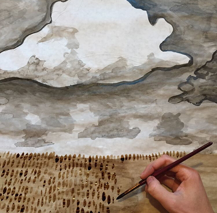 Painting with homemade walnut ink, the most beautiful sepia color!