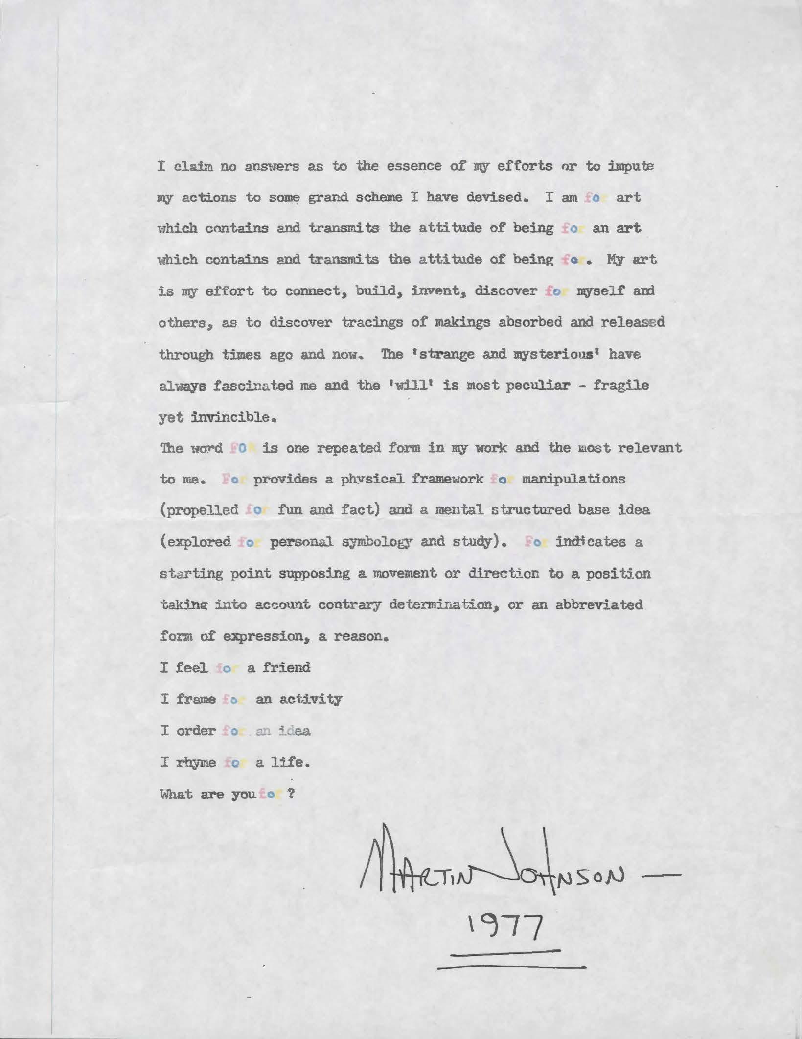 Artist Statement , 1977