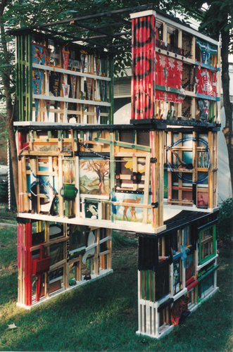 Unis Tower,  1994, structure constructed of found objects