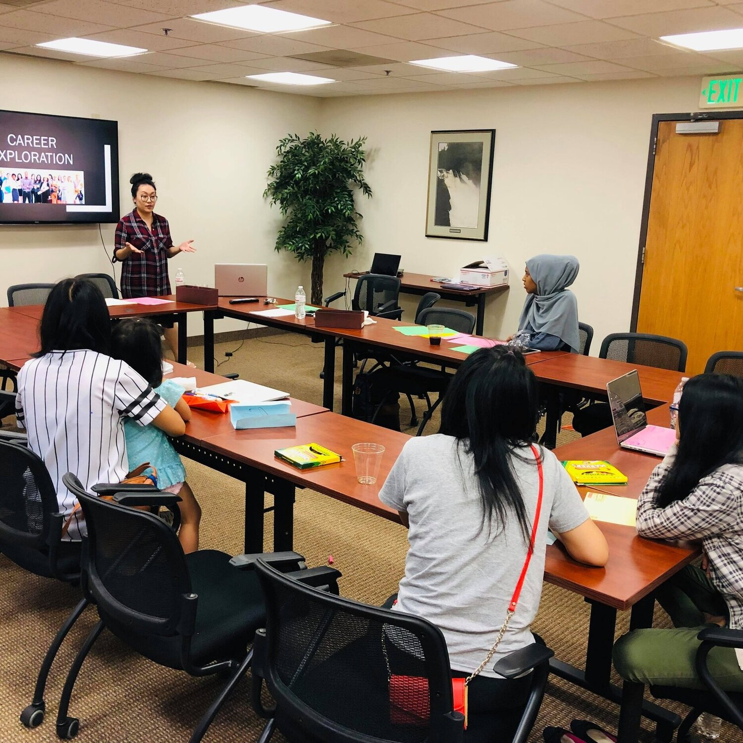 WISE Intern facilitates a Career Exploration workshop with WeLEAD