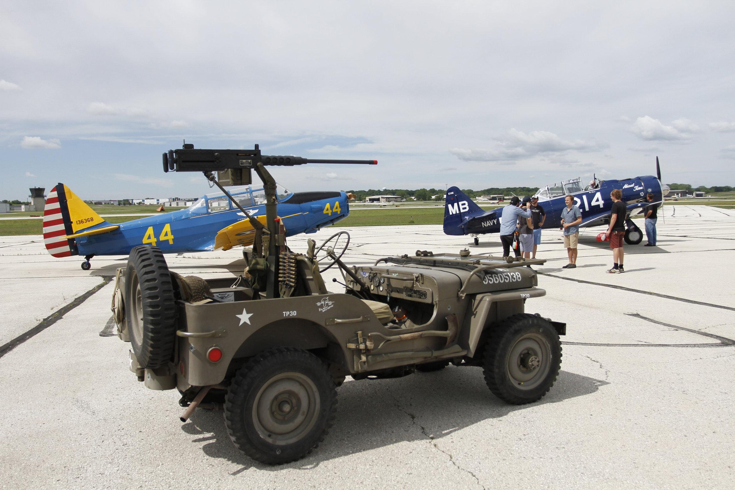 World War II Jeep on set