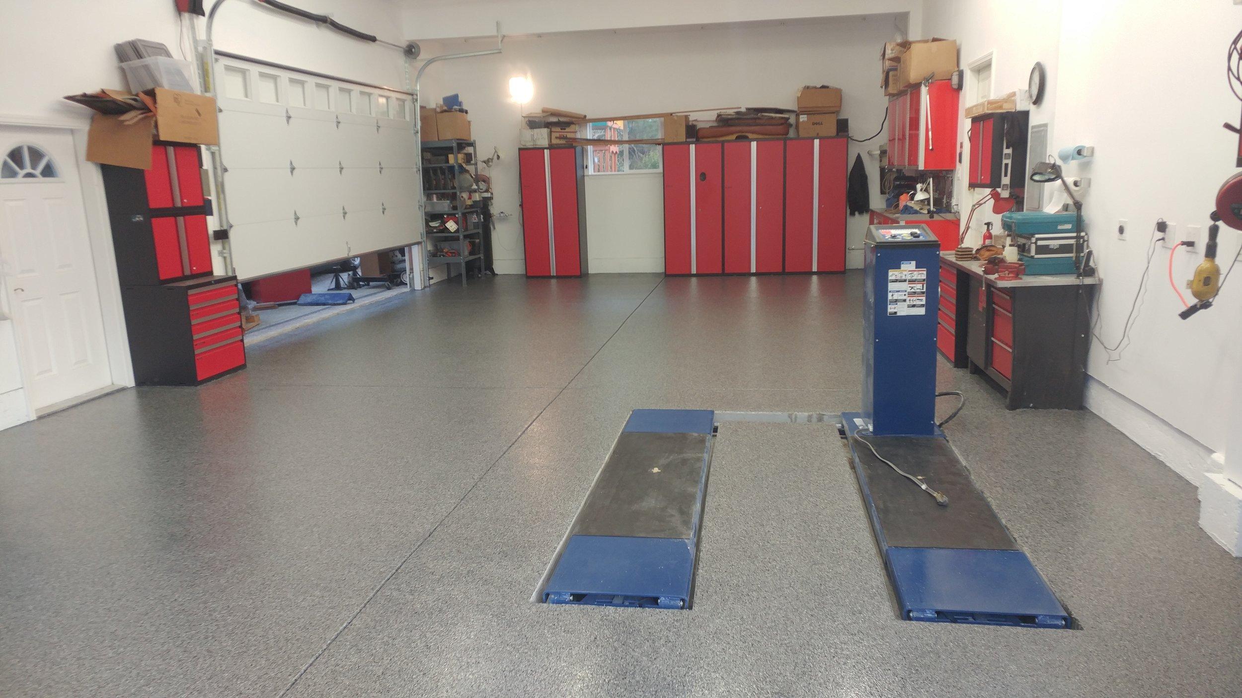 Morega Custom Garage gets a Custom Epoxy Floor to Match