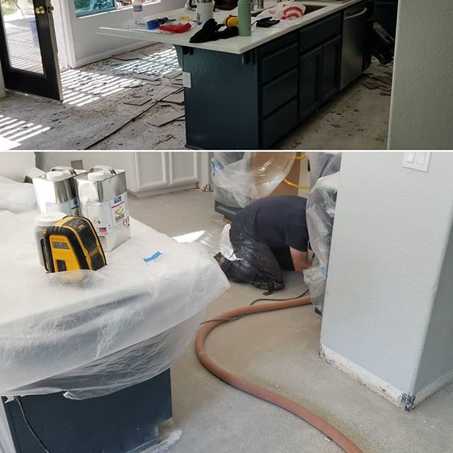 We're getting there! 5,000 lbs of old tile, hardwood, and carpet removed and disposed of. Glue and mastic has mostly been ground off and we are starting to see some beautiful salt and pepper aggregate!  #BallisticConcreteCoatings #GoBallistic #grindandseal #grindandsealconcrete  #flooring #flooringideas #interiordesign #homerenovation #homeremodel #construction