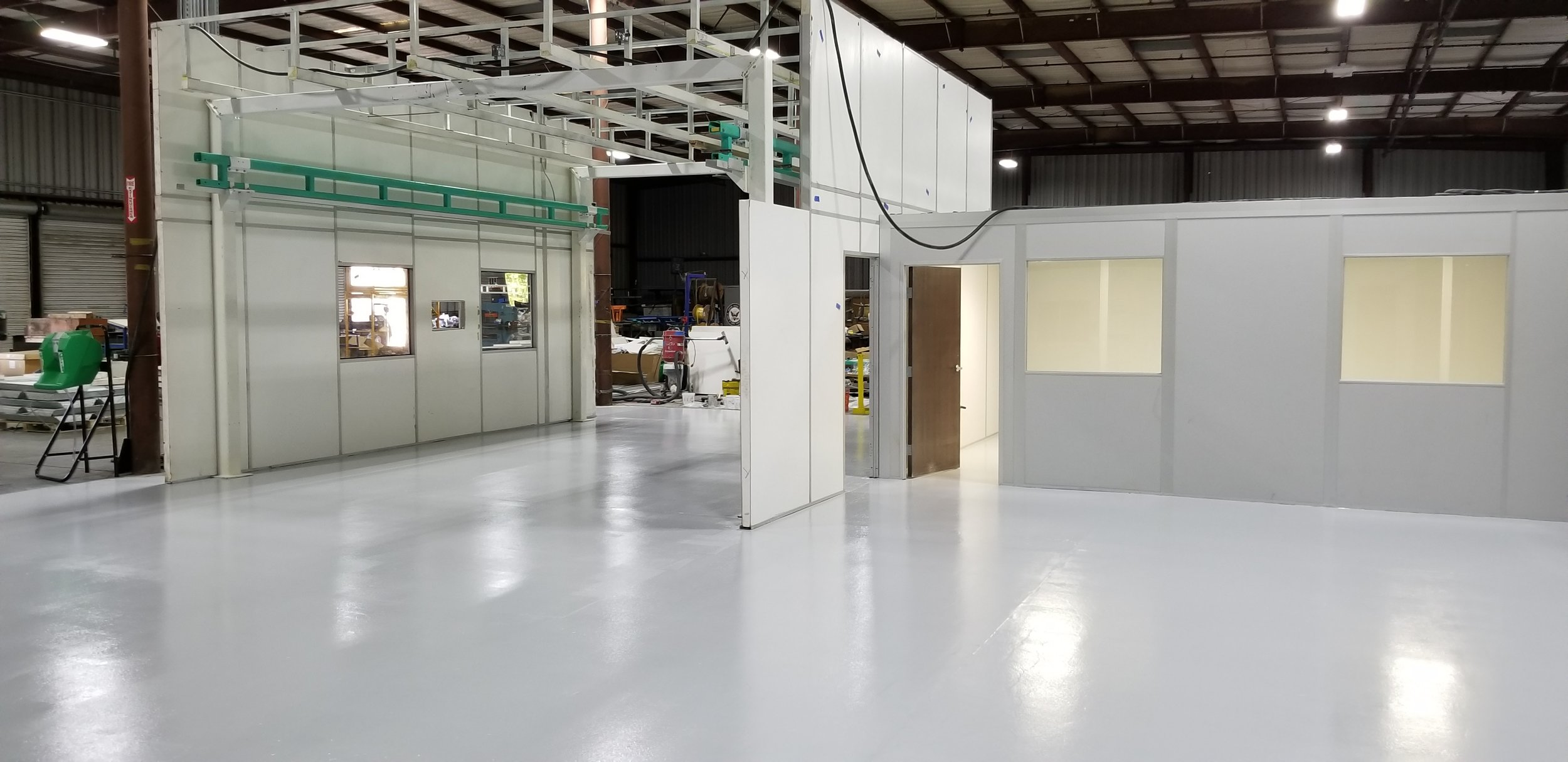 "New Industrial Epoxy Floor for a Vacaville Company's ""Clean Room""   This Vacaville company needed an epoxy floor for their new ""clean room"" that would be used in manufacturing of highly sensitive electronic components. Epoxy is an often requested floor for ""clean rooms"" as it provides a non-permeable anti-microbial surface."