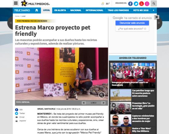 Nuestro primer evento pet friendly en Museo Marco en julio 2018. Televisado en Multimedios y reportaje en periódico digital.