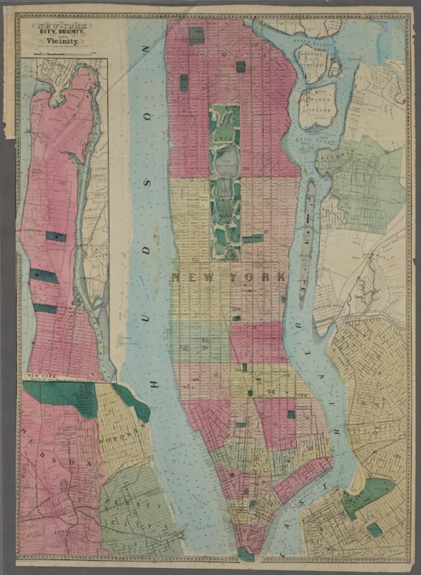 The New York Public Library. (1864). New York City, County, and vicinity.  Retrieved from http://digitalcollections.nypl.org/items/fc070920-f3a1-0130-35d7-58d385a7b928