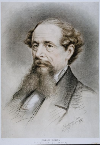 Billy Rose Theatre Division, The New York Public Library. (1900 - 1923).  Photo of Charles Dickens oil painting by E. Goodwyn Lewis, 1869.  Retrieved from http://digitalcollections.nypl.org/items/42c2c920-0208-0131-7f2f-58d385a7bbd0