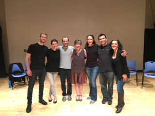 Photo of Amy and director Guy Ben-Aharon with the cast of  The Square  from last April's reading at Brandeis.