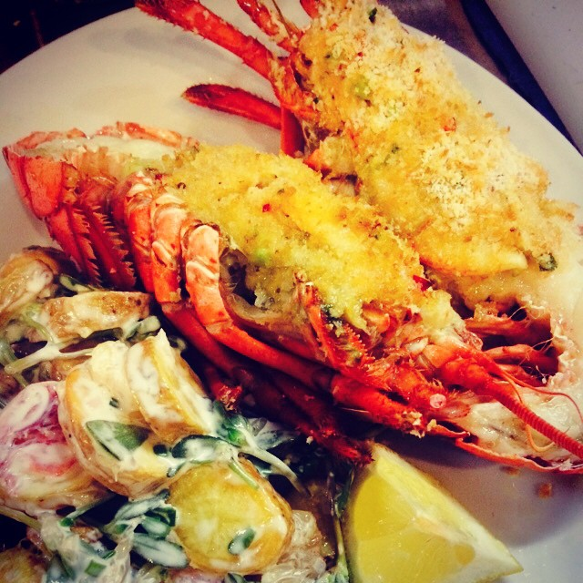 Crab Stuffed Lobster with Chilled Lobster Claw Potato Salad