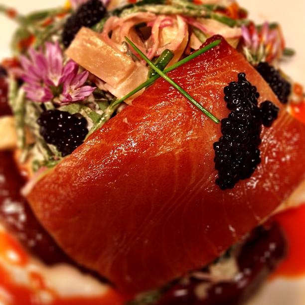 Smoked Sable Fish with Seabean Potato Salad & Caviar