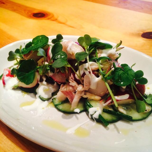 Smoked Trout with Cucumber Radish Salad & Creme Fraiche