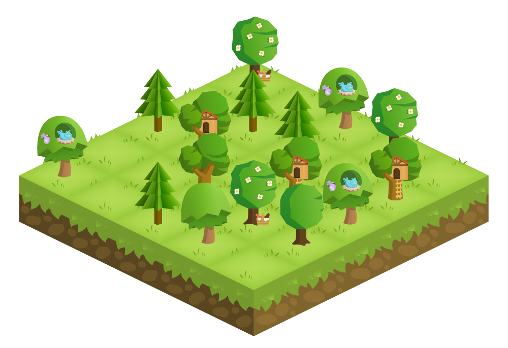A beautiful, tree-filled forest on the Forest app