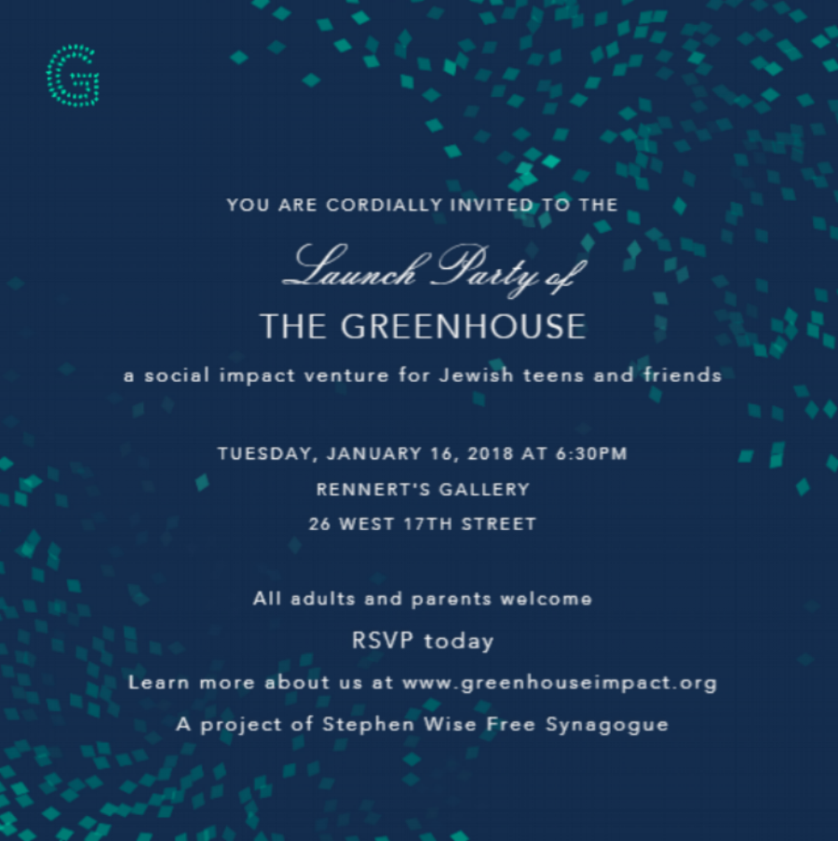RSVP to join us on Jan 16th in NYC. - The Greenhouse aims to cultivate the next generation of social innovators, change-agents and entrepreneurs through immersive experiences for teens that introduce new knowledge and place universal values and current world issues into a Jewish context.We offer Jewish teens and their peers year-round opportunities to develop tangible skills and real world experience aligned with the requirements of university programs and the future of work, while also gaining access to experts, industry leaders, and inspiring venues.
