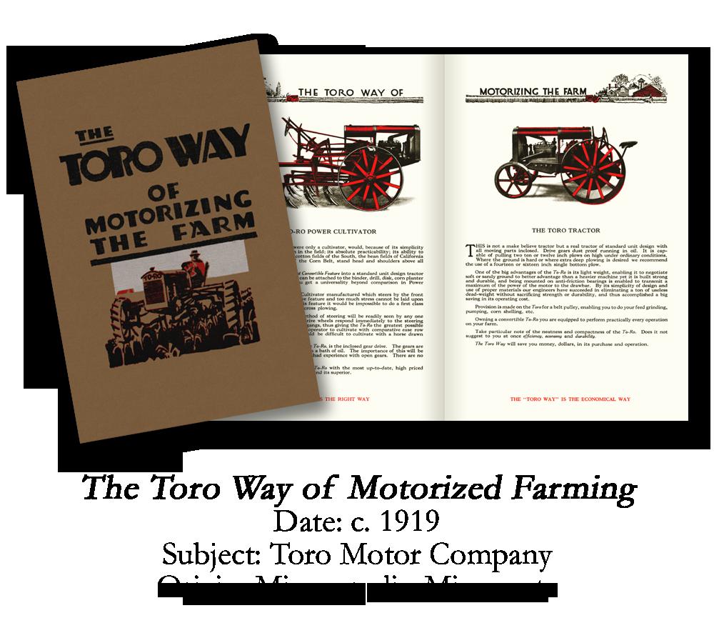 1919 Toro TO-RO Farm Tractor Catalog