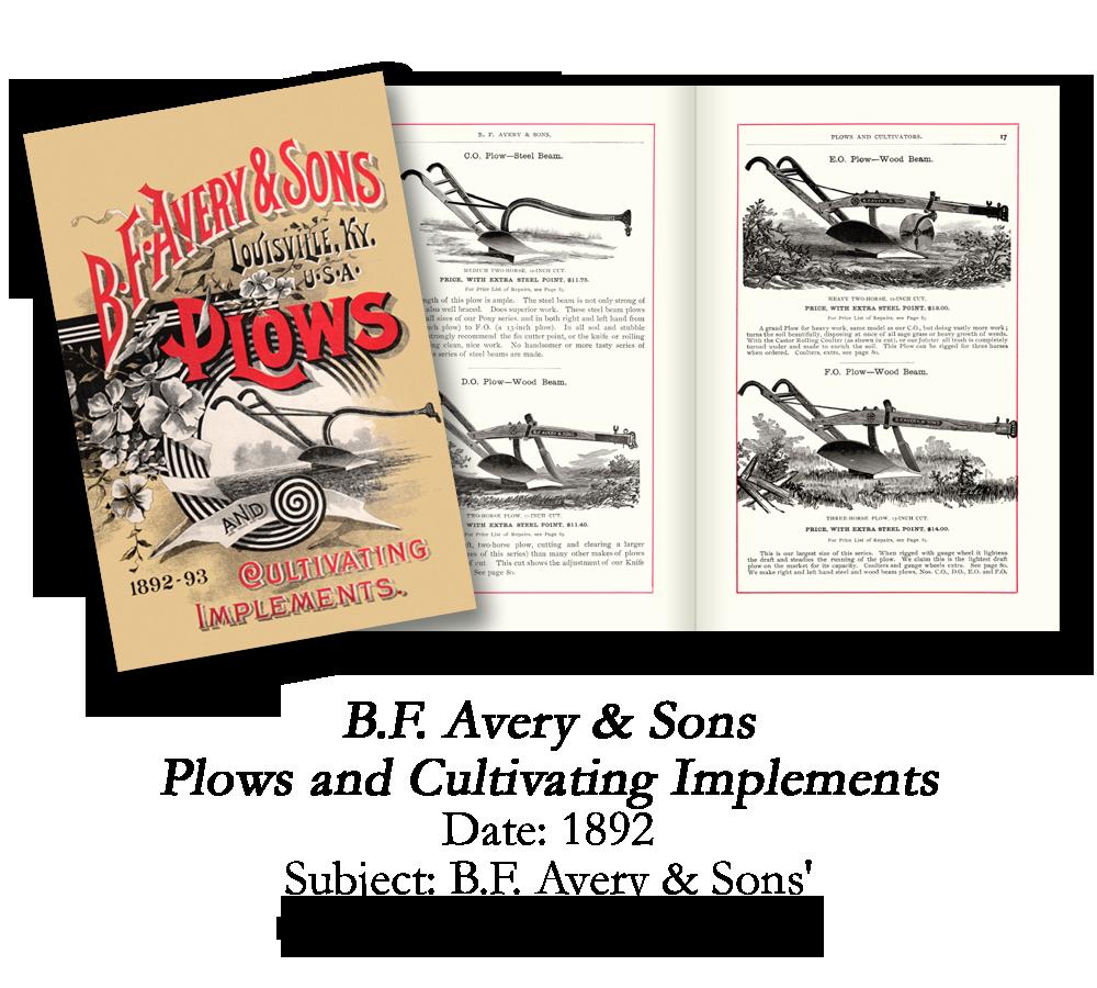 1892 B.F. Avery Plow Catalog