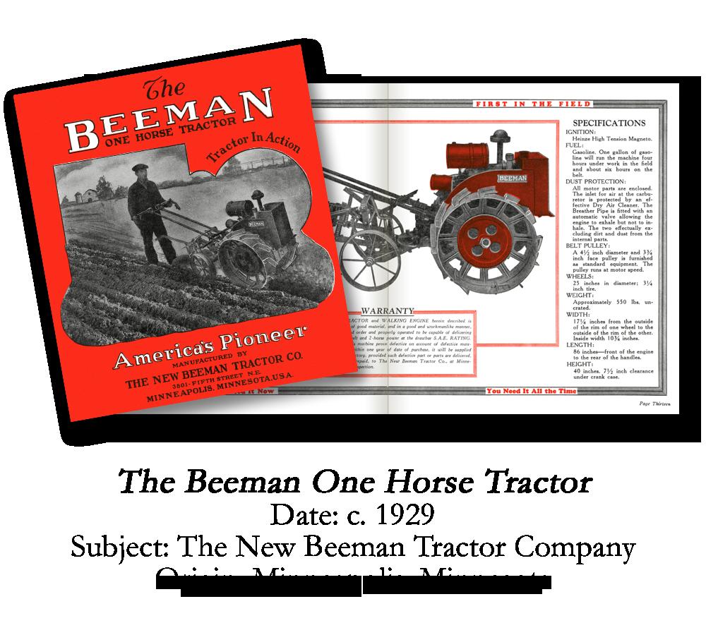 1929 Beeman Garden Tractor Catalog