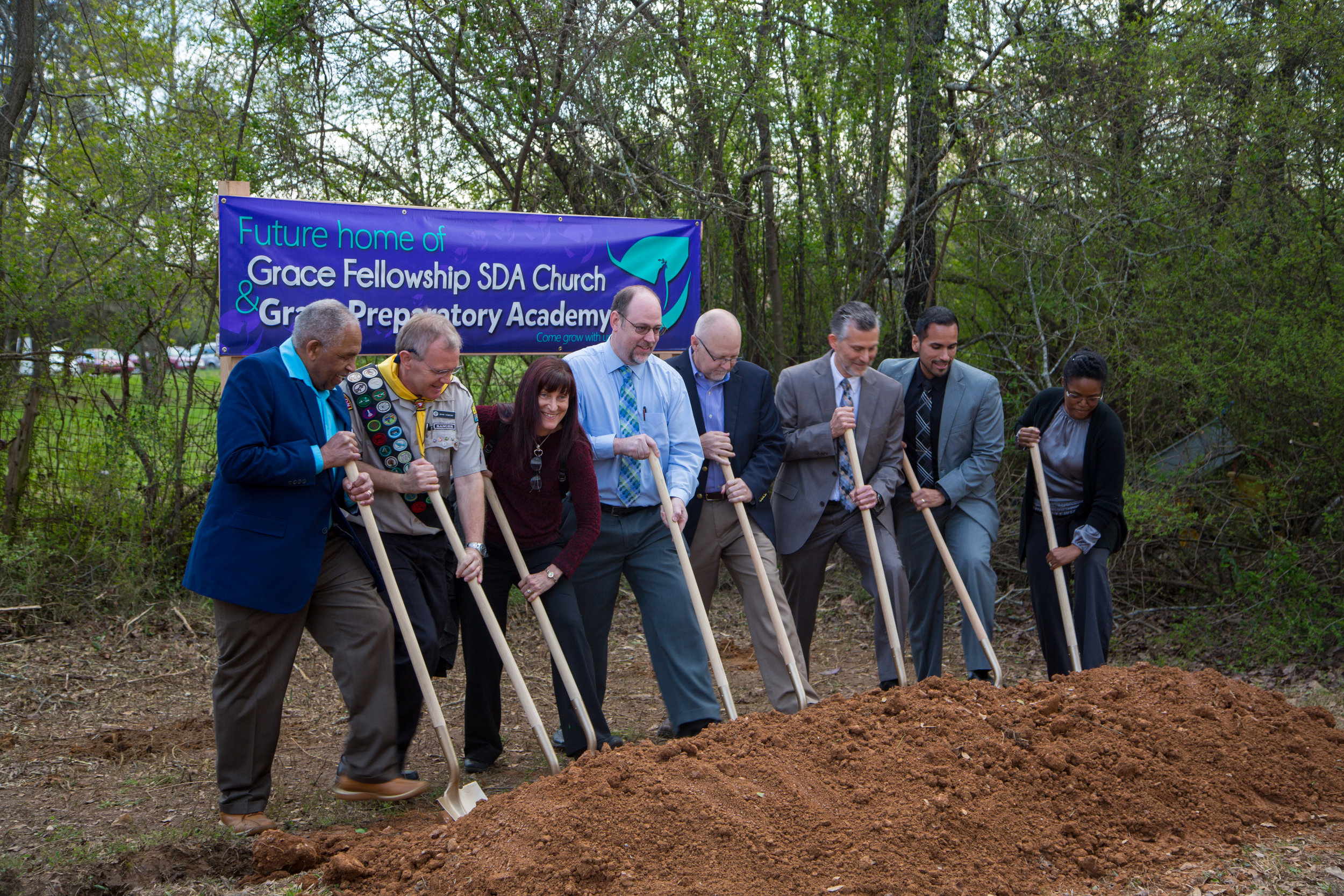 Participating in the groundbreaking ceremony were Winton Forde Sr. (left), local elder; Wayne Thompson, local elder and construction coordinator; Tamara Libonati, assoc. director for early childhood education of the southern union; Martin Fancher, exec. secretary of gulf states; Stan Hobbs, VP of education of gulf states; Thom Lopez, local elder; Jaime Pombo, pastor; Shushannah Smith, school board chairman.