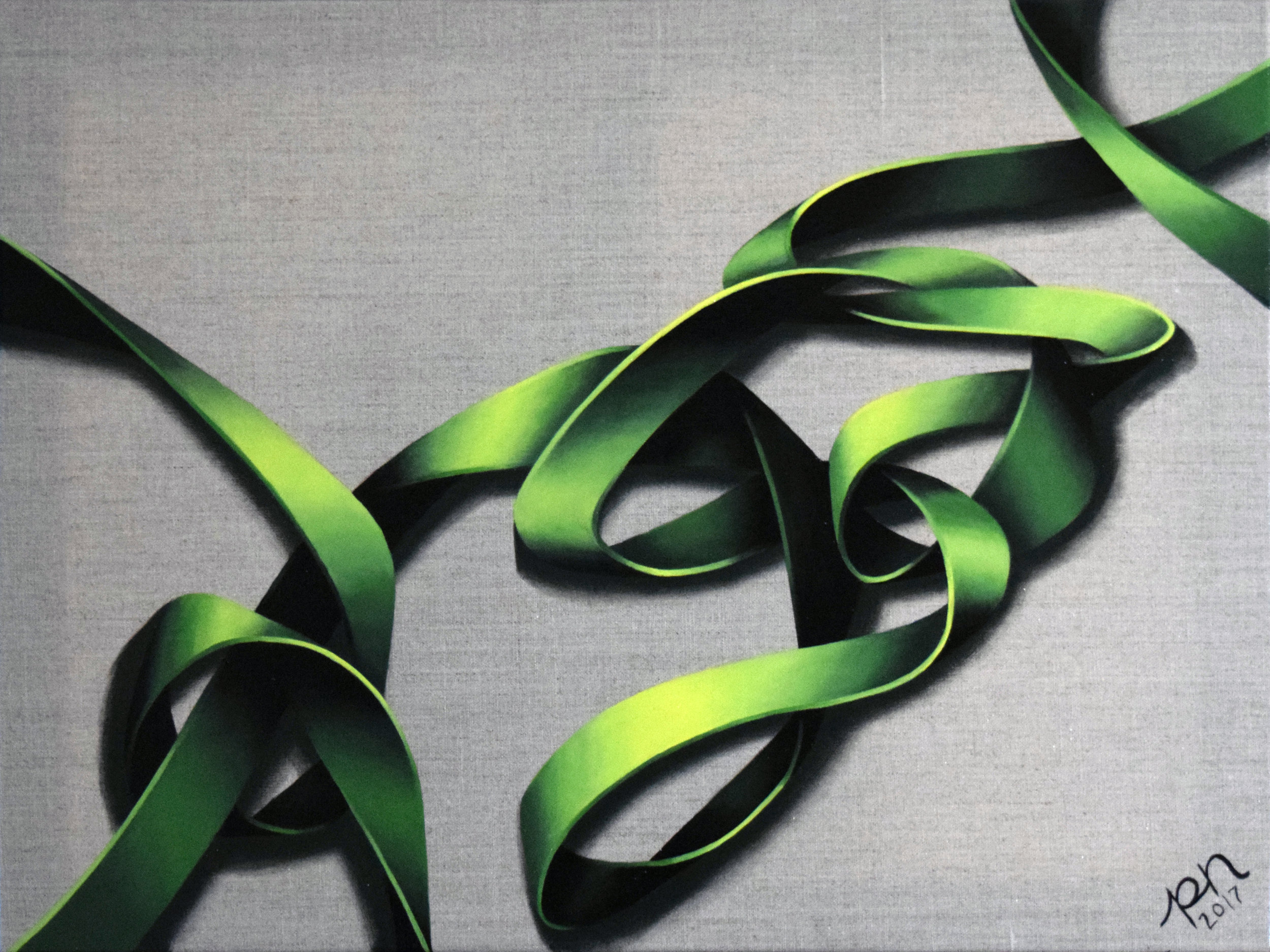 "GREEN KNOT ON LINEN | 18"" x 24"" 