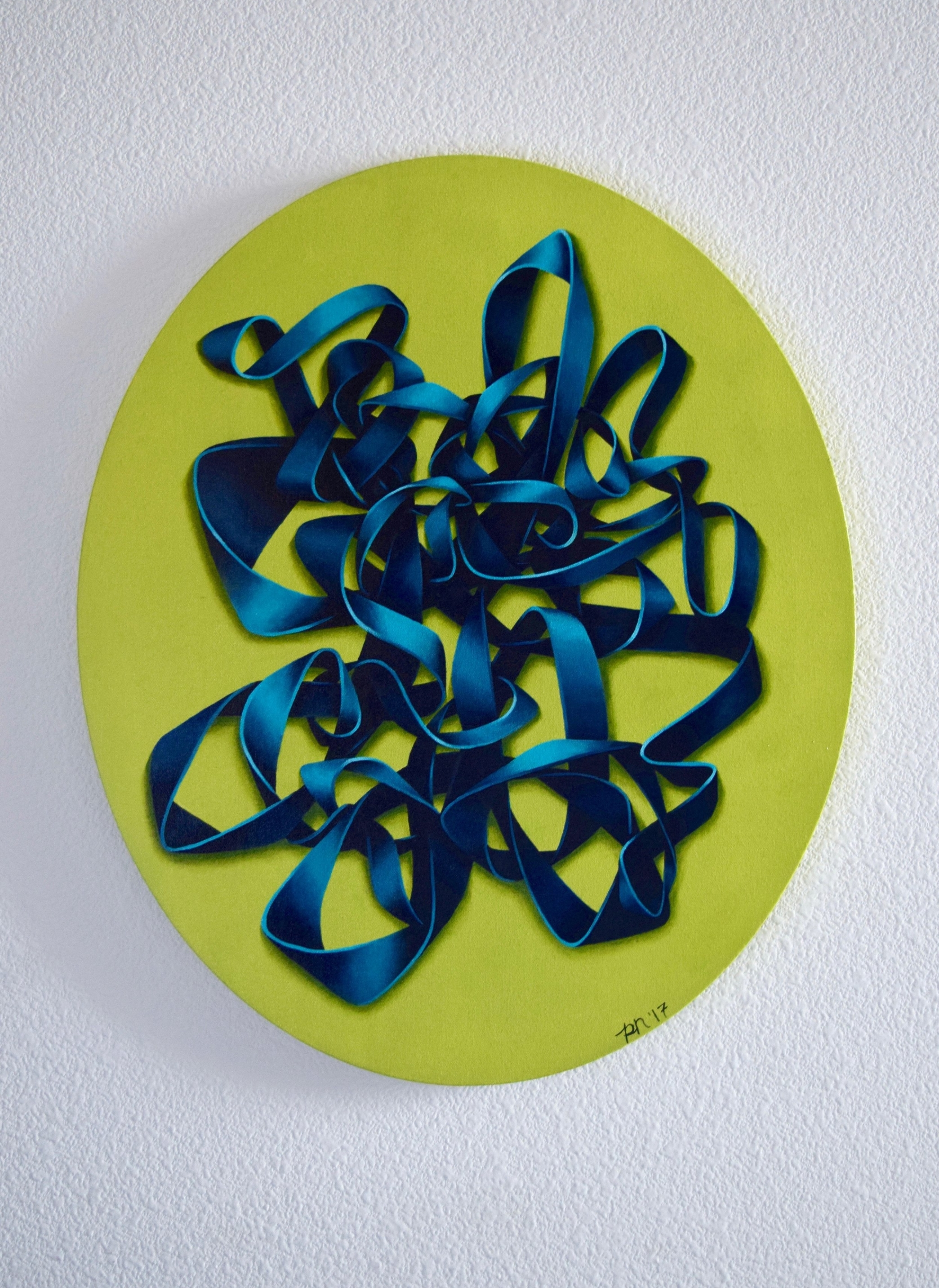 TEAL KNOT ON GREEN | ACRYLIC ON CANVAS |  2017 |FOR SALE - PLEASE CONTACT FOR INFORMATION