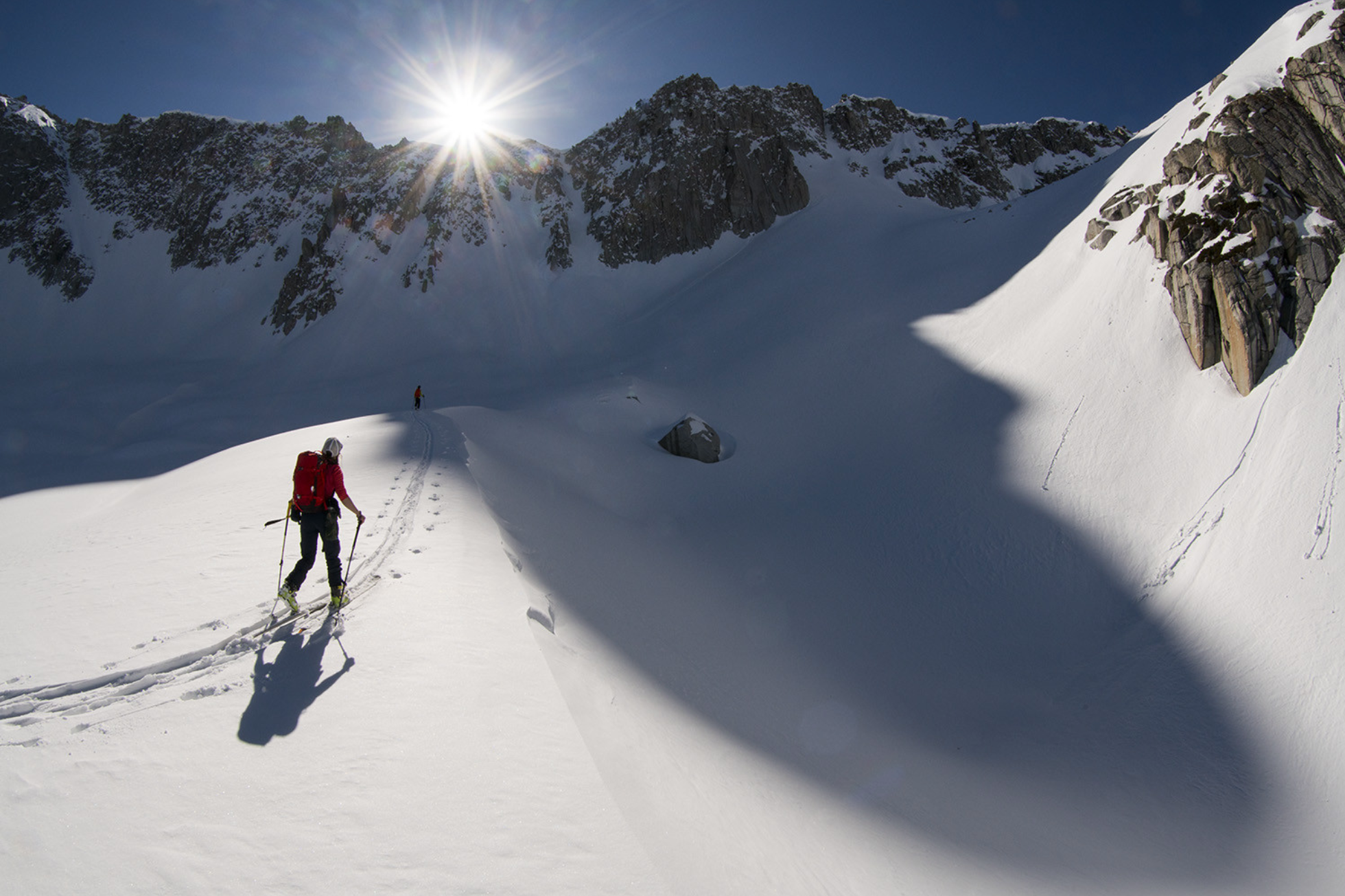 female athlete skier Caroline Gleich follow through