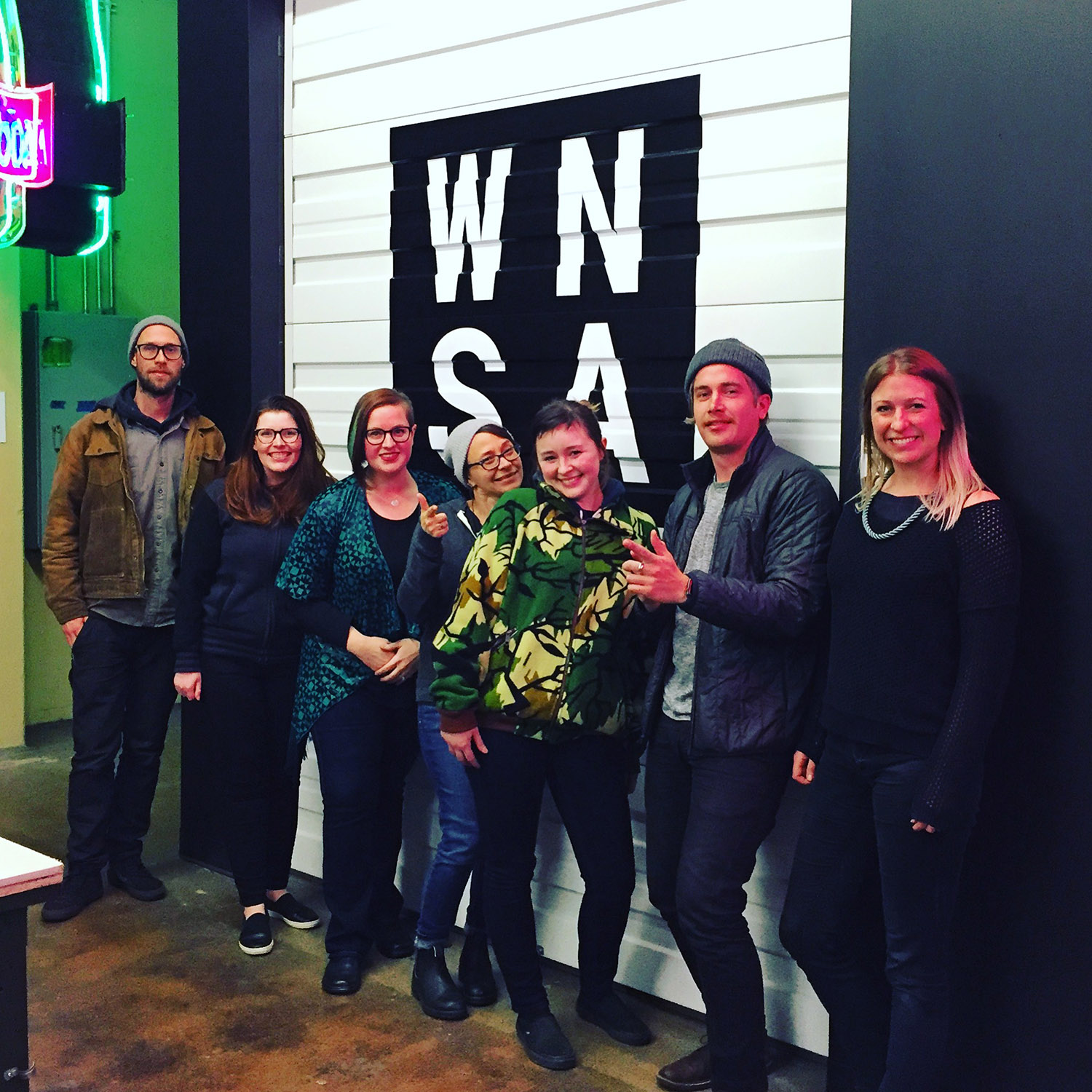 Congratulations to our first graduating class at Western Neon School of Art, from left to right: Yale Wolf, Ashley Smith, Allseon Buchanan, Tania Kupczak, Ramie Kraun, Garret Hystek, and Kathleen Warren. Kyhre Matthews is not pictured since he was on tour with his band during the final class session.