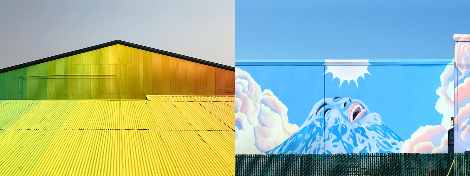 Left: Derek Bruno's  Angles of Incidence  (2017 SODO Track mural). Image  ©  2017 Wiseknave. Right: Celeste Byers's  Above the Clouds  (2018 SODO Track mural). Image  ©  2018 Celeste Byers.