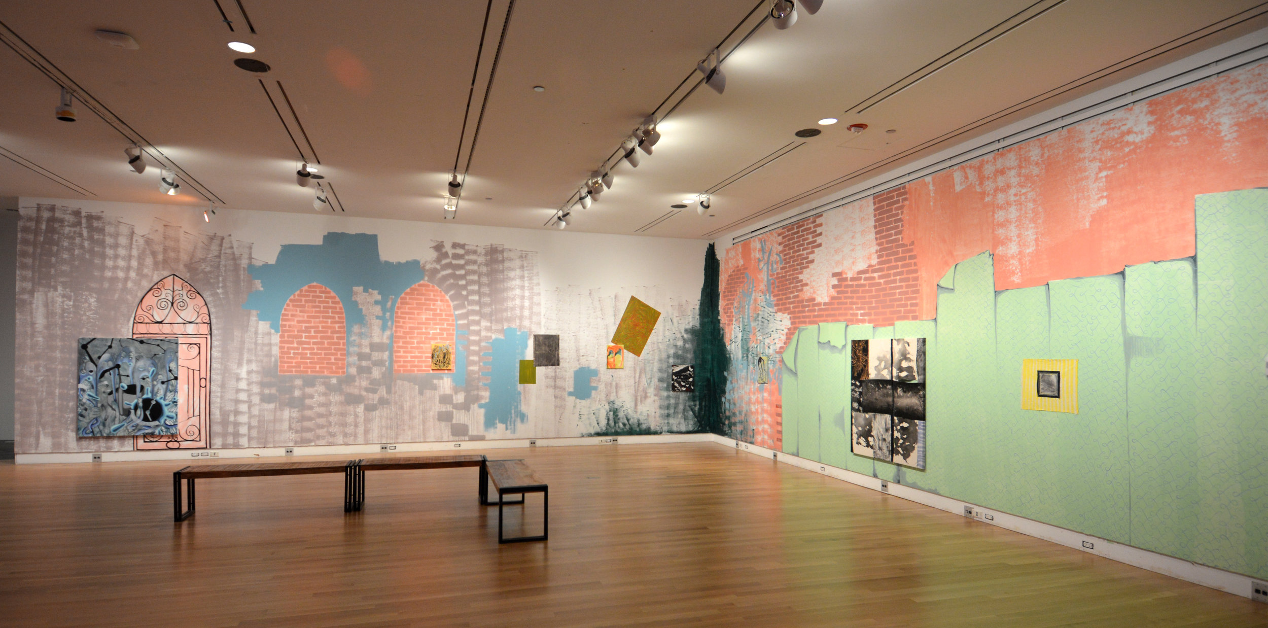 Time Warpage Generator  (image 1)  2017  Vinyl, acrylic, and oil paint on canvas and walls | 12 x 62 feet  Reva and David Logan Center for the Arts