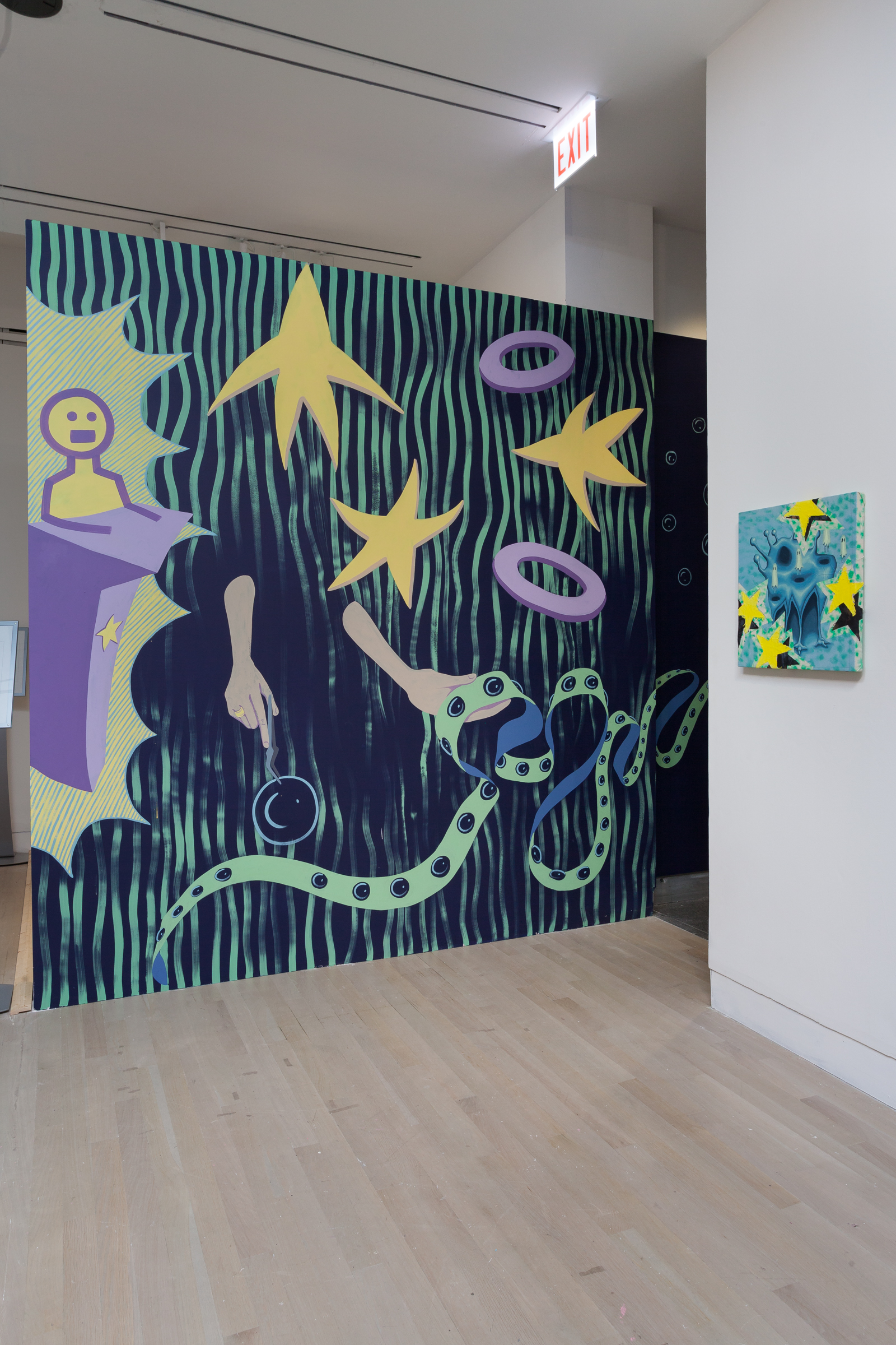 The Guardians of Alternate Dimensions (image 1)  2017  Vinyl and acrylic paint on walls| 10 x 13.5 x 23.25 feet  Logan Center Exhibitions