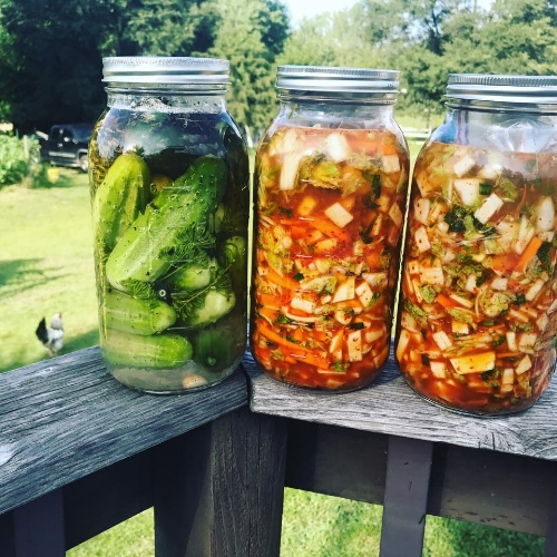 Some of my homemade ferments--Lacto-fermented kimchi (Korean sauerkraut) and lacto-fermented dill pickles. Even just the liquid in these is so soothing to a rumbly gut!