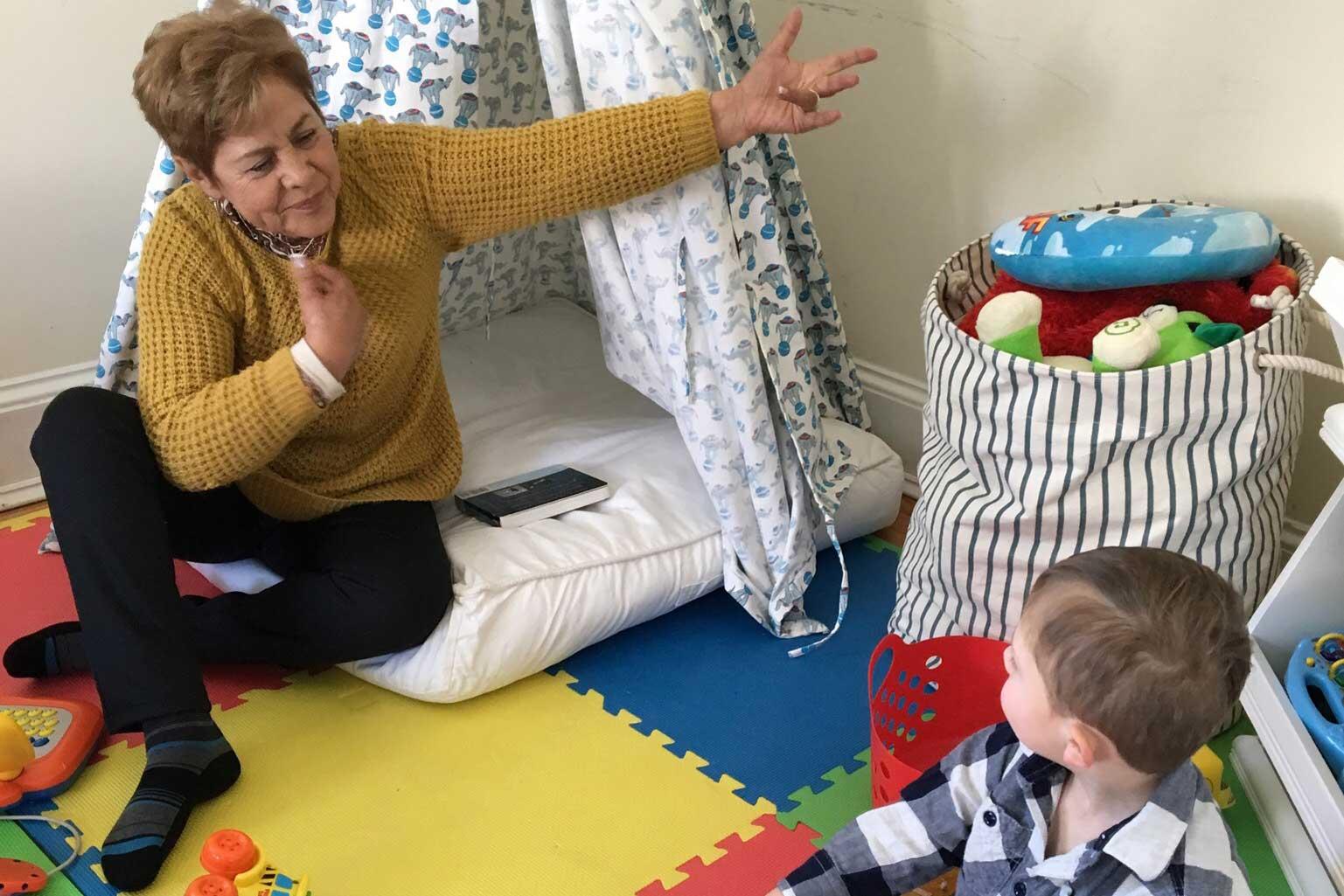 Ethan and Grandma playing